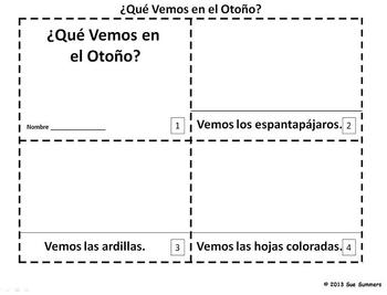 Spanish Autumn 2 Emergent Readers Que Vemos en el Otono?