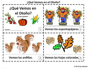 Spanish Autumn 2 Emergent Readers Que Vemos en el Otono?