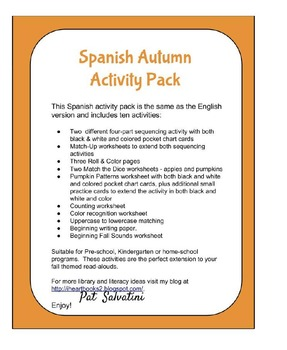 Spanish Autumn Activity Pack