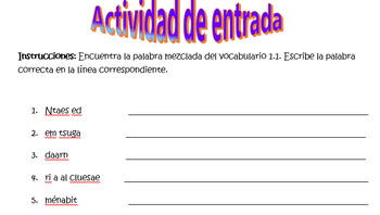 Spanish Avancemos 1 Chapter 1.1 Vocabulary Word Scramble (12 words/phrases)