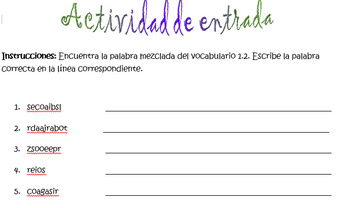 Spanish Avancemos 1 Chapter 1.2 Vocabulary Word Scramble (11 words/phrases)