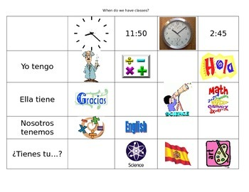 Spanish Avancemos 1a Unit 2 Lesson 1- tener & telling time