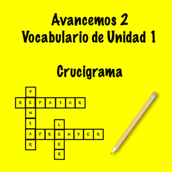 Spanish Avancemos 2 Vocab 1.1 Crossword