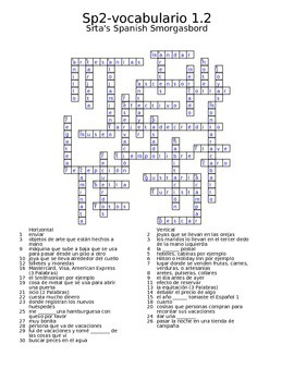 Spanish Avancemos 2 Vocab 1.2 Crossword