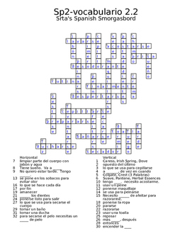 Spanish Avancemos 2 Vocab 2.2 crossword