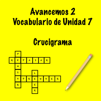 Spanish Avancemos 2 Vocab 7.2 Crossword