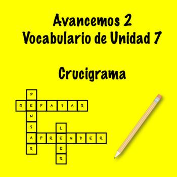Spanish Avancemos 2 Vocab 7.2 Crossword