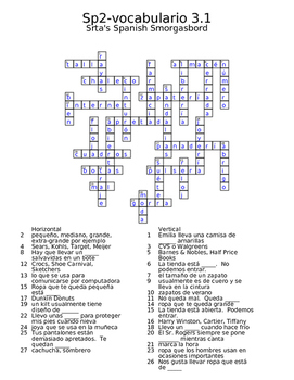 Spanish Avancemos 2 vocab 3.1 crossword