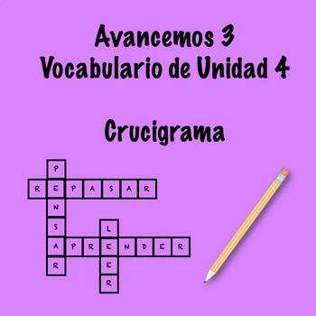 Spanish Avancemos 3 Vocab 4.1 Crossword