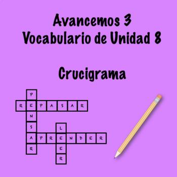 Spanish Avancemos 3 Vocab 8.1 Crossword