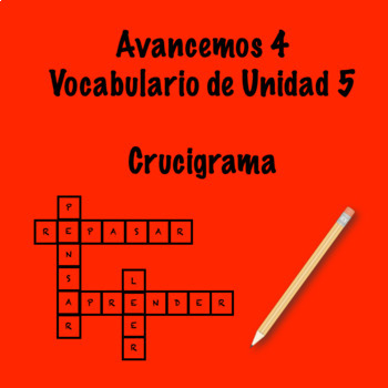 Spanish Avancemos 4 Vocab 5.2 Crossword