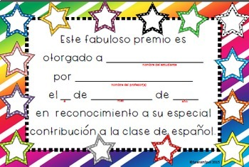 Spanish award certificates for students by spanishspot tpt spanish award certificates for students yadclub Images