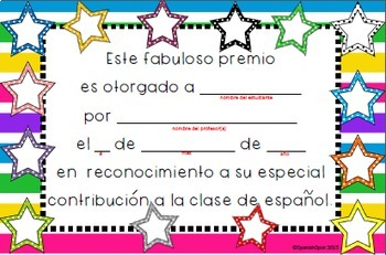 Spanish Award Certificates for Students