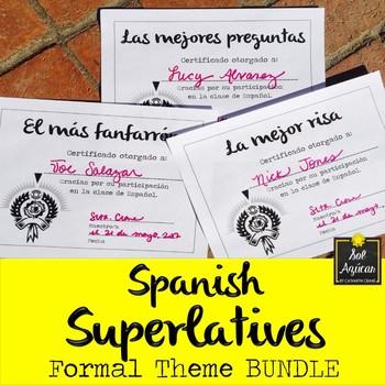 spanish superlatives end of year award certificates formal theme