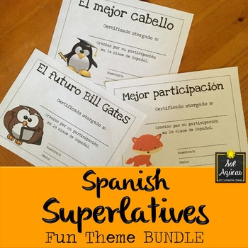 Spanish End of Year Award Certificates - Fun Theme BUNDLE