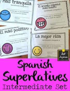 Spanish Superlatives - End of Year Awards - Happy Face Theme Intermediate Set