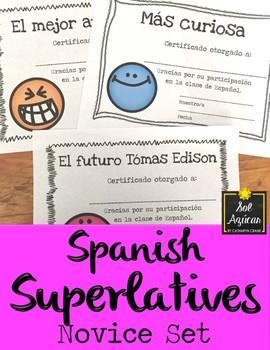 Spanish Superlatives - End of Year Awards - Happy Face Theme - Novice Set