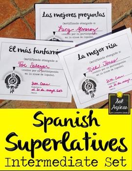 Spanish Superlatives End of Year Award Certificates - Formal Theme Intermediate