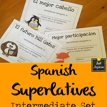 Spanish Superlatives - End of the Year Awards - Fun Theme - Intermediate Set