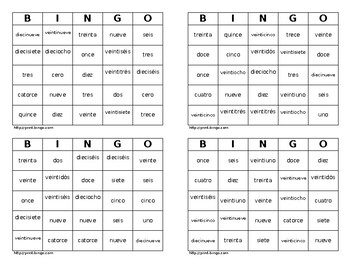 Spanish BINGO  - numbers  0-30 (Set A)