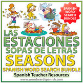 Spanish BUNDLE - Seasons Word Search - Las Estaciones - Sopa de Letras