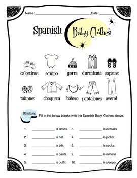 Spanish Baby Clothes Worksheet Packet