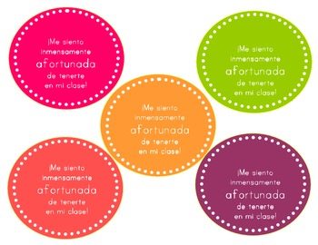 Spanish Back to School  Gift Labels