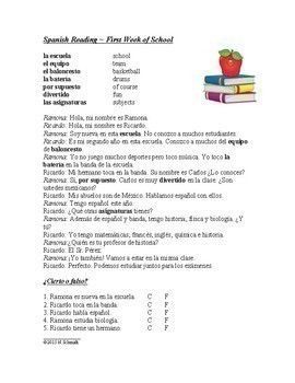 Spanish Back to School Bundle - 3 Handouts, 3 Readings and 4 Worksheets!
