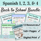 Spanish Back to School Activity Bundle for level 1 2 3 and 4   Digital and Print