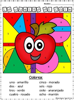 Spanish Back to School Color by number