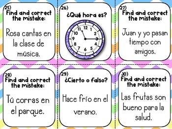 Spanish Back to School/End of the Year Review Task Cards