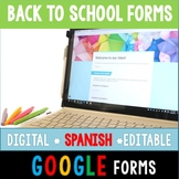 SPANISH Back to School Paperless Google Forms