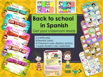 Spanish Back to school displays certificates rules and reward cards NO PREP