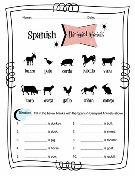 Spanish Barnyard Animals Worksheet Packet