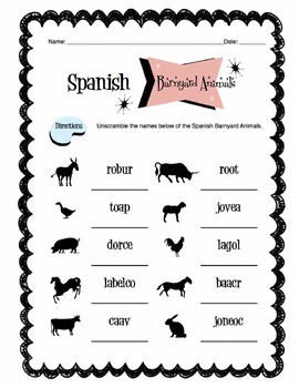 Spanish Barnyard Animals Worksheet Packet