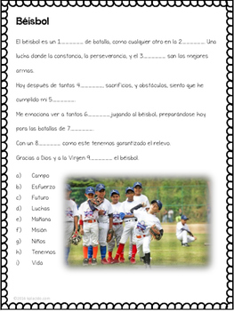 Spanish Baseball Commercials - 2 pack of activities!