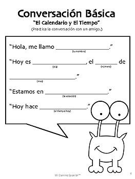 spanish basic conversation exercises k 2 by mi camino spanish tpt. Black Bedroom Furniture Sets. Home Design Ideas