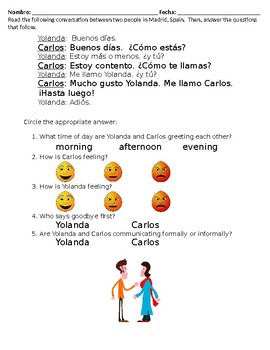 Spanish Basic Conversation Reading Activity