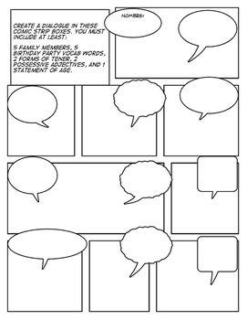 Spanish Basic Family Comic Strip