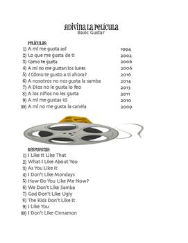 Spanish Basic Gustar Movie Titles