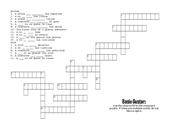 Spanish Basic Gustar Puzzle Pack