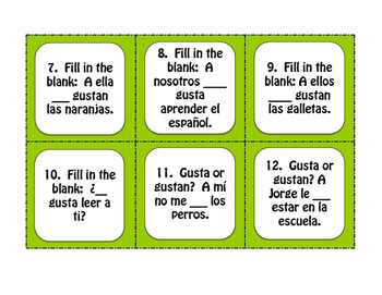 Spanish Basic Gustar Task Cards