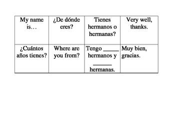 Spanish Basic Introductions Flash Cards