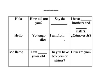 Spanish Basic Introductions Flash Cards