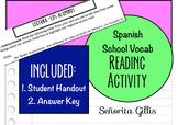 Spanish Basic Novice School Vocabulary Reading Activity