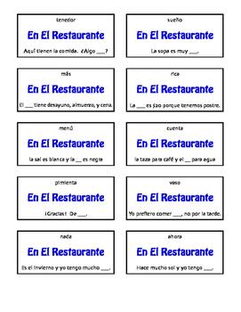 Spanish Basic Restaurant Circle Puzzle