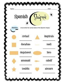 Spanish Basic Shapes Worksheet Packet