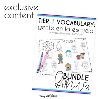 Spanish Speech Therapy Basic Vocabulary Activities Growing Bundle