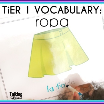 Spanish Speech Therapy Basic Vocabulary Activities La Ropa Clothes