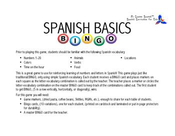 Spanish Basics BINGO!